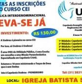 Aberta as inscrições para o curso CEI na Igreja Batista Shallom em Ipatinga/MG